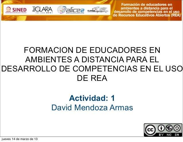 FORMACION DE EDUCADORES EN    AMBIENTES A DISTANCIA PARA ELDESARROLLO DE COMPETENCIAS EN EL USO               DE REA      ...