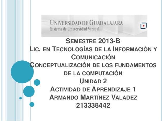SEMESTRE 2013-B LIC. EN TECNOLOGÍAS DE LA INFORMACIÓN Y COMUNICACIÓN CONCEPTUALIZACIÓN DE LOS FUNDAMENTOS DE LA COMPUTACIÓ...