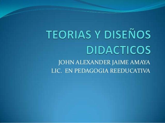 JOHN ALEXANDER JAIME AMAYA LIC. EN PEDAGOGIA REEDUCATIVA