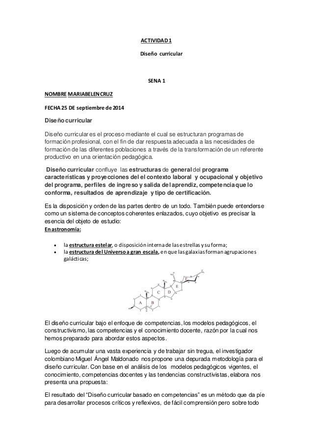 ACTIVIDAD 1 Diseño curricular SENA 1 NOMBRE MARIABELENCRUZ FECHA 25 DE septiembre de 2014 Diseño curricular Diseño curricu...