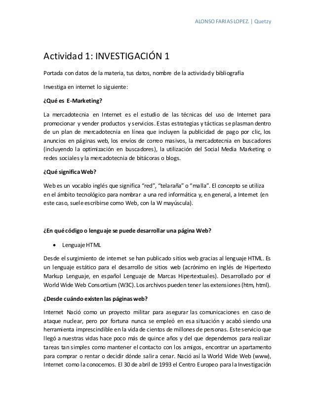 ALONSOFARIASLOPEZ. | Quetzy Actividad 1: INVESTIGACIÓN 1 Portada con datos de la materia, tus datos, nombre de la activida...