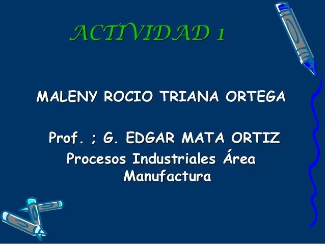 ACTIVIDAD 1 MALENY ROCIO TRIANA ORTEGA Prof. ; G. EDGAR MATA ORTIZ Procesos Industriales Área Manufactura