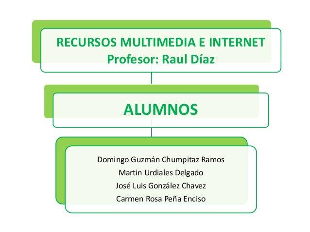 RECURSOS MULTIMEDIA E INTERNET Profesor: Raul Díaz ALUMNOS Domingo Guzmán Chumpitaz Ramos Martin Urdiales Delgado José Lui...