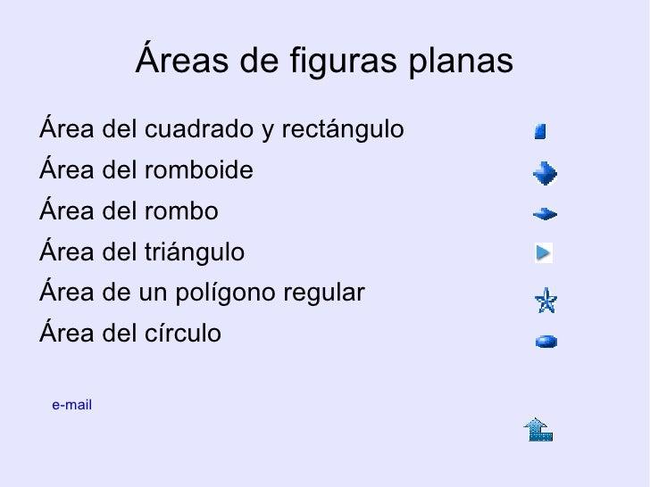 Áreas de figuras planas <ul><li>Área del cuadrado y rectángulo </li></ul><ul><li>Área del romboide </li></ul><ul><li>Área ...