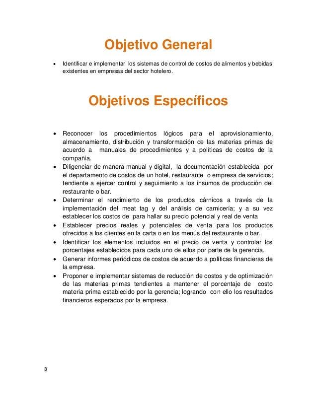 Manual De Procedimientos De Alimentos Y Bebidas De Un Hotel Of Actividad 1 Conceptos Generales Costos