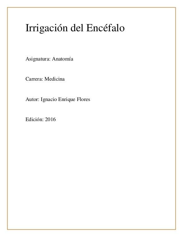 Irrigación del Encéfalo Asignatura: Anatomía Carrera: Medicina Autor: Ignacio Enrique Flores Edición: 2016
