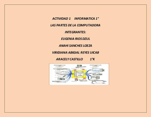 ACTIVIDAD 1 INFORMATICA 1°  LAS PARTES DE LA COMPUTADORA  INTEGRANTES:  EUGENIA RIOS DZUL  ANAHI SANCHES LOEZA  VIRIDIANA ...