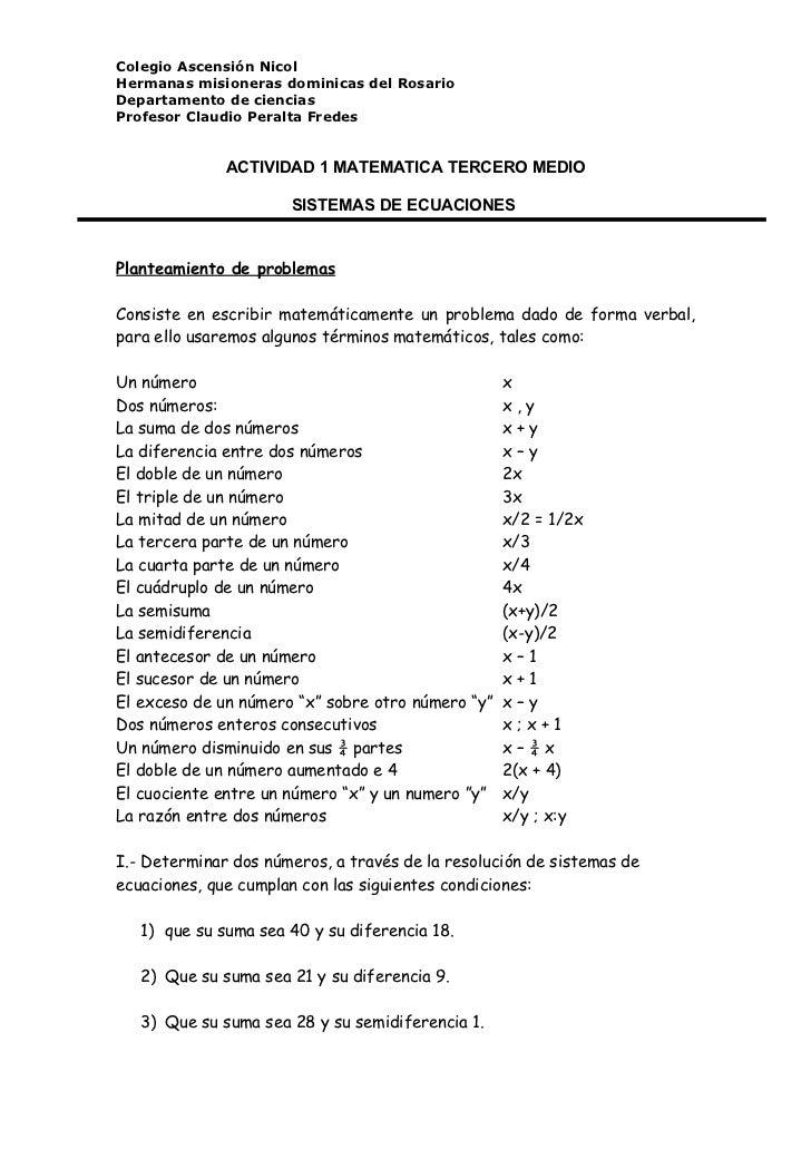 Actividad 1 matematica tercero medio