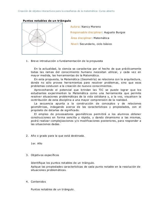 Creación de objetos interactivos para la enseñanza de la matemática: Curso abiertoPuntos notables de un triánguloAutora: N...
