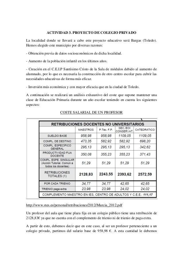 ACTIVIDAD 3. PROYECTO DE COLEGIO PRIVADOLa localidad donde se llevará a cabo este proyecto educativo será Bargas (Toledo)....