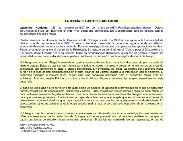 JOHN ALEXANDER JAIME AMAYA YLDEFONSO RAMIREZ CASARES LICENCIATURA EN PEDAGOGIA REEDUCATIVA LA TEORÍA DE LAWRENCE KOHLBERG ...