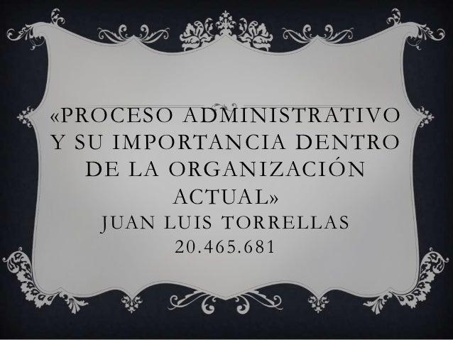 «PROCESO ADMINISTRATIVOY SU IMPORTANCIA DENTRO   DE LA ORGANIZACIÓN         ACTUAL»   JUAN LUIS TORRELLAS         20.465.681