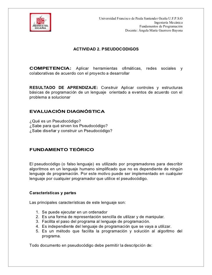 Actividad 2. pseudocodigo