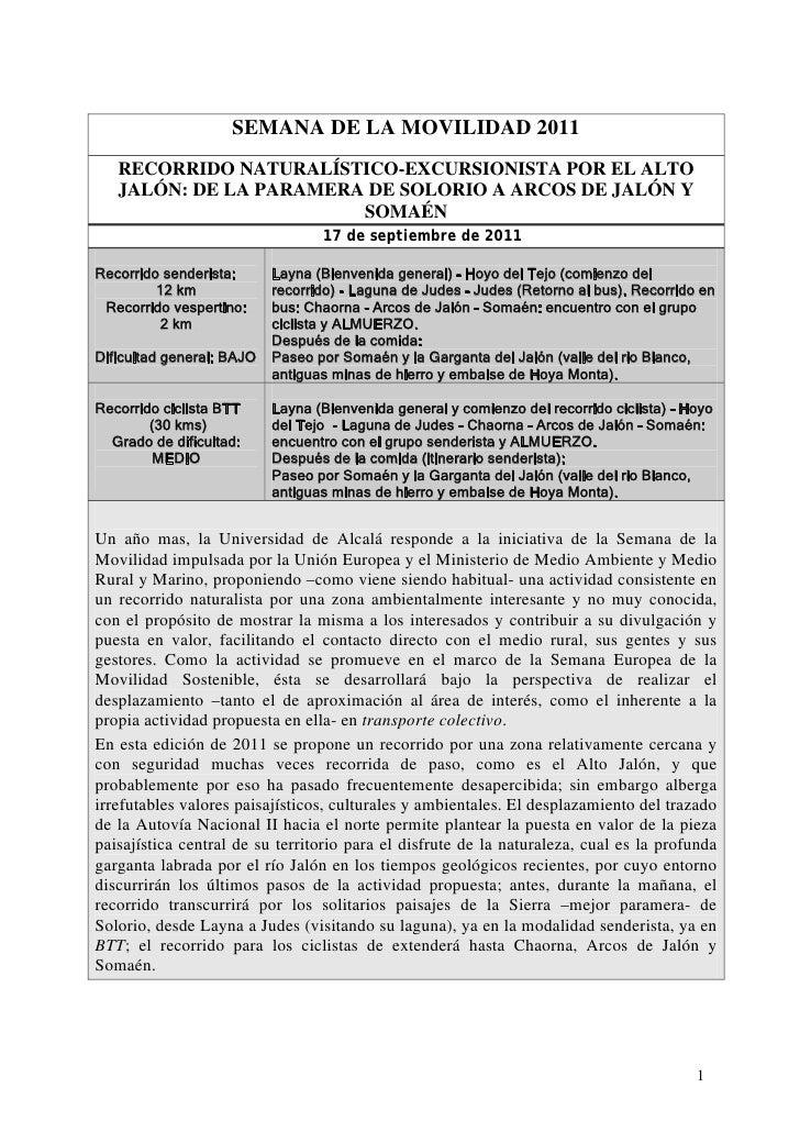 SEMANA DE LA MOVILIDAD 2011   RECORRIDO NATURALÍSTICO-EXCURSIONISTA POR EL ALTO   JALÓN: DE LA PARAMERA DE SOLORIO A ARCOS...