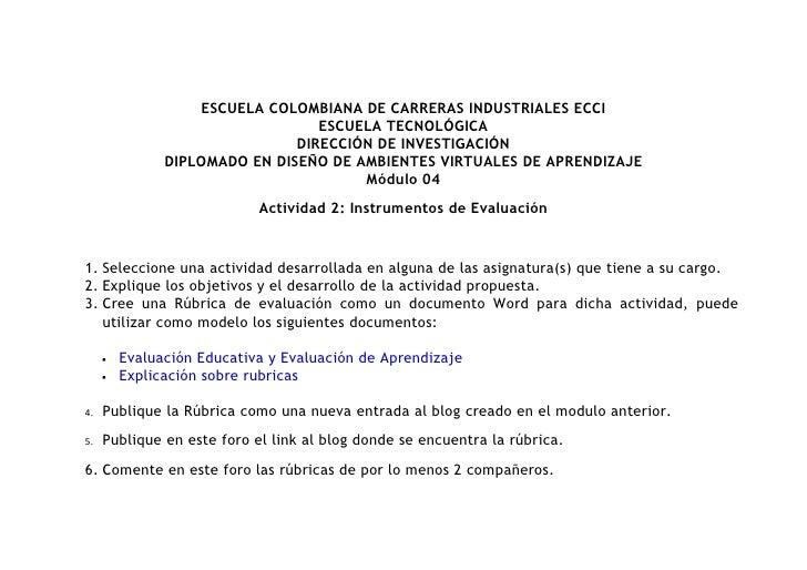 ESCUELA COLOMBIANA DE CARRERAS INDUSTRIALES ECCI                                   ESCUELA TECNOLÓGICA                    ...