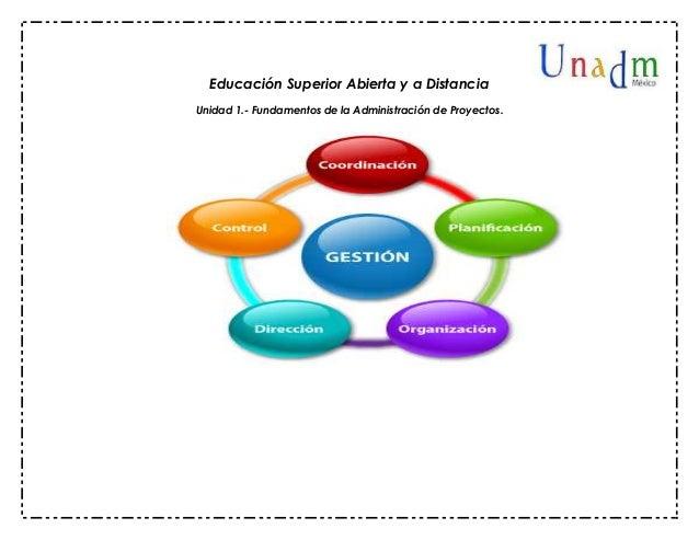 Educación Superior Abierta y a Distancia Unidad 1.- Fundamentos de la Administración de Proyectos.