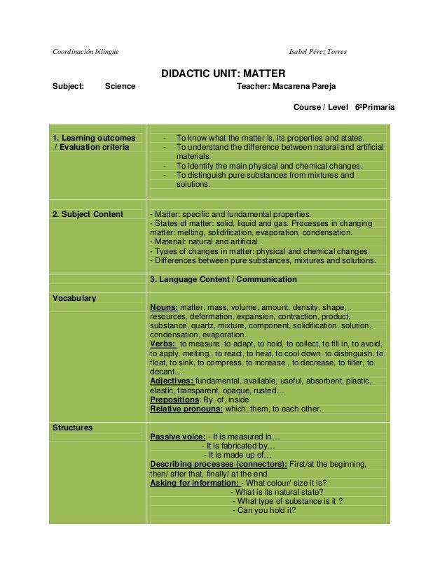 Coordinación bilingüe  Isabel Pérez Torres  DIDACTIC UNIT: MATTER Subject:  Science  Teacher: Macarena Pareja Course / Lev...