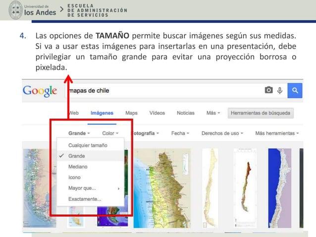 4. Las opciones de TAMAÑO permite buscar imágenes según sus medidas. Si va a usar estas imágenes para insertarlas en una p...
