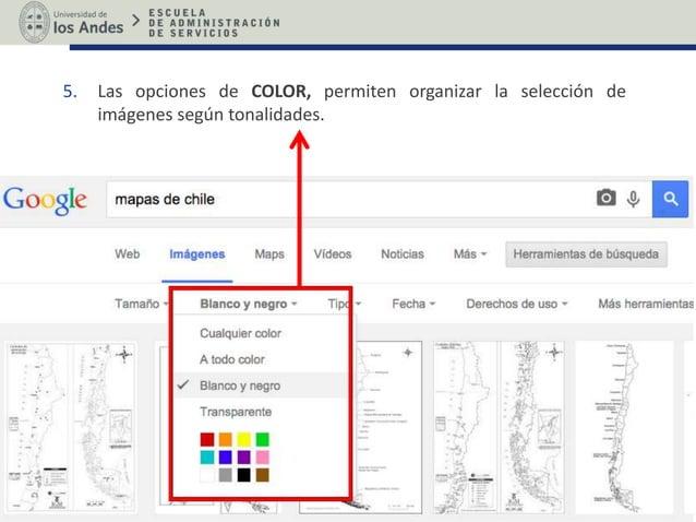 5. Las opciones de COLOR, permiten organizar la selección de imágenes según tonalidades.
