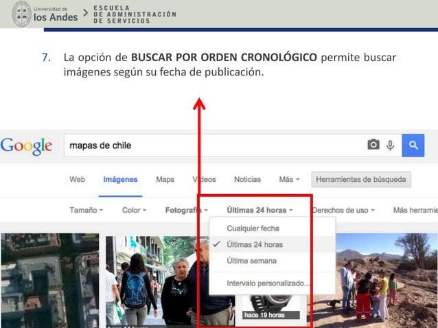 7. La opción de BUSCAR POR ORDEN CRONOLÓGICO permite buscar imágenes según su fecha de publicación.