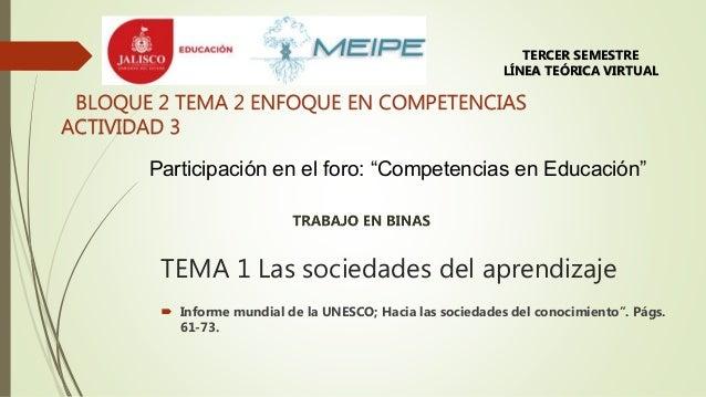 """TEMA 1 Las sociedades del aprendizaje  Informe mundial de la UNESCO; Hacia las sociedades del conocimiento"""". Págs. 61-73...."""