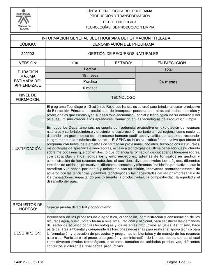 LÍNEA TECNOLÓGICA DEL PROGRAMA                                               PRODUCCIÓN Y TRANSFORMACIÓN                  ...