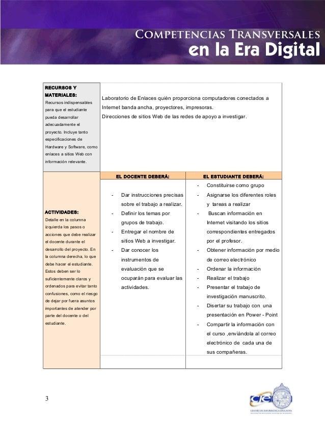 RECURSOS Y MATERIALES: Recursos indispensables para que el estudiante pueda desarrollar adecuadamente el proyecto. Incluye...