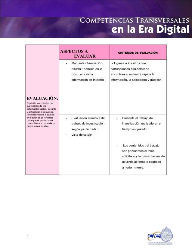 EVALUACIÓN: Explicite los criterios de evaluación de los estudiantes antes, durante y al finalizar el proyecto. Adicionalm...