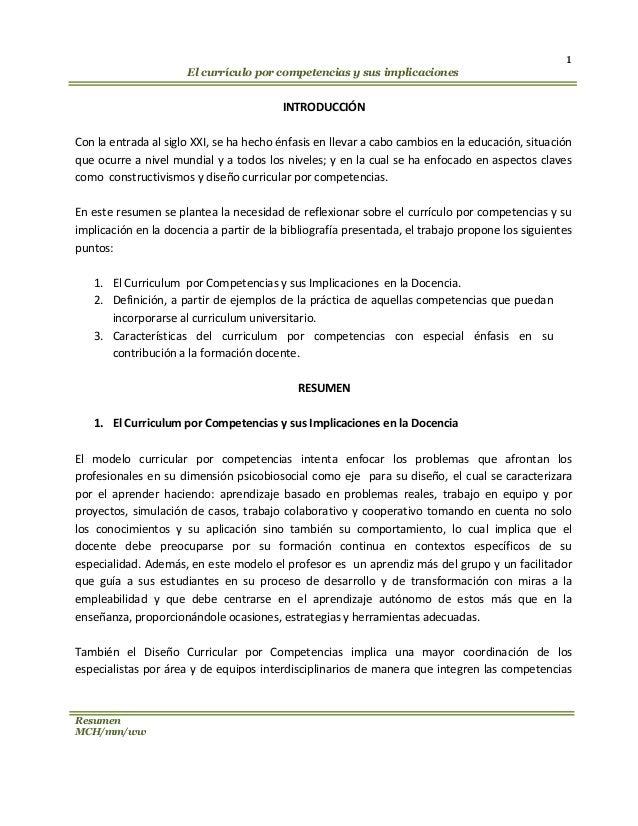 el curriculum por competencias y sus implicaciones en la docencia