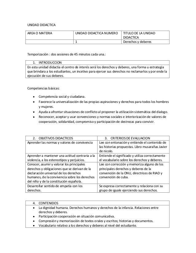 UNIDAD DIDACTICA AREA O MATERIA  UNIDAD DIDACTICA NUMERO 1  TITULO DE LA UNIDAD DIDACTICA Derechos y deberes  Temporizació...