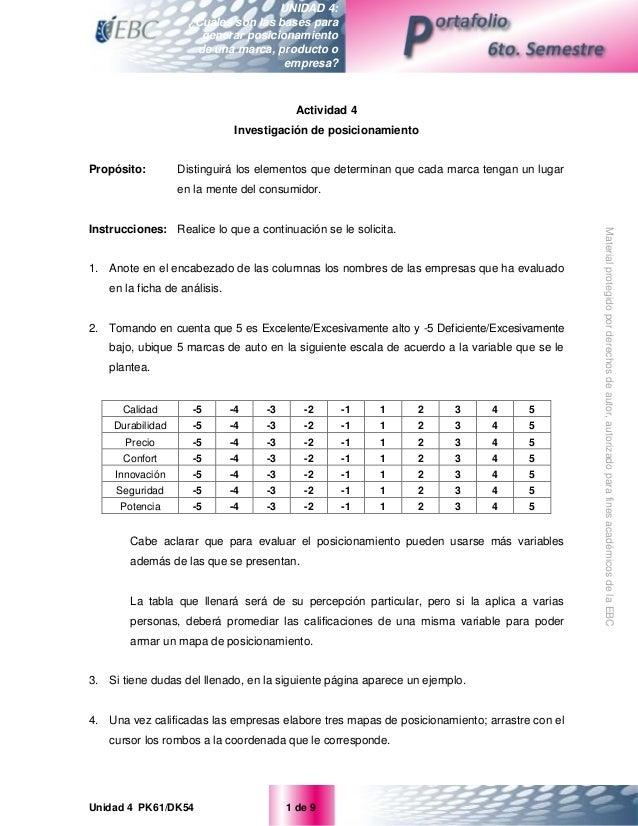 Unidad 4 PK61/DK54 1 de 9 UNIDAD 4: ¿Cuáles son las bases para generar posicionamiento de una marca, producto o empresa? M...