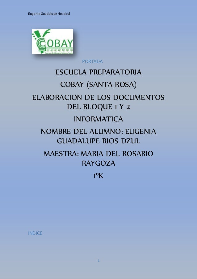 Eugenia Guadalupe ríos dzul  PORTADA  ESCUELA PREPARATORIA  COBAY (SANTA ROSA)  ELABORACION DE LOS DOCUMENTOS  DEL BLOQUE ...