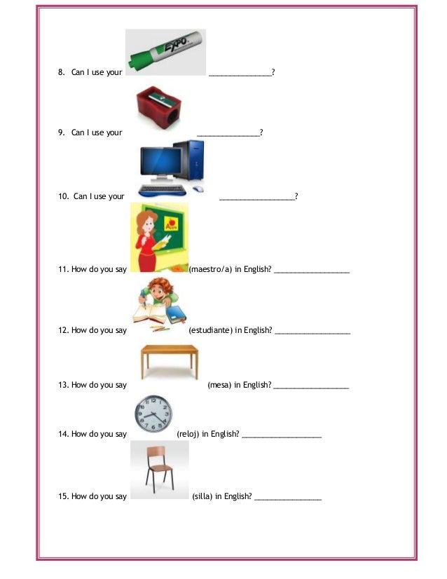 Actividad 4 el uso de expreciones utiles en el salon de for 10 objetos en ingles del salon de clases