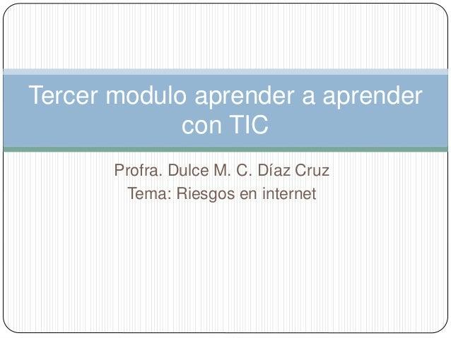 Profra. Dulce M. C. Díaz Cruz Tema: Riesgos en internet Tercer modulo aprender a aprender con TIC