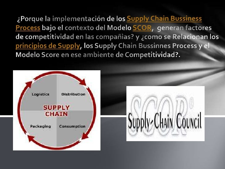 Supply Chain BussinessProcess                 SCORprincipios de Supply