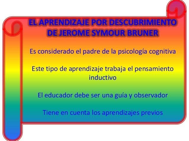 EL APRENDIZAJE POR DESCUBRIMIENTO DE JEROME SYMOUR BRUNER Es considerado el padre de la psicología cognitiva Este tipo de ...