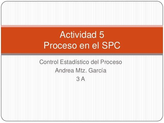 Control Estadístico del Proceso Andrea Mtz. García 3 A Actividad 5 Proceso en el SPC