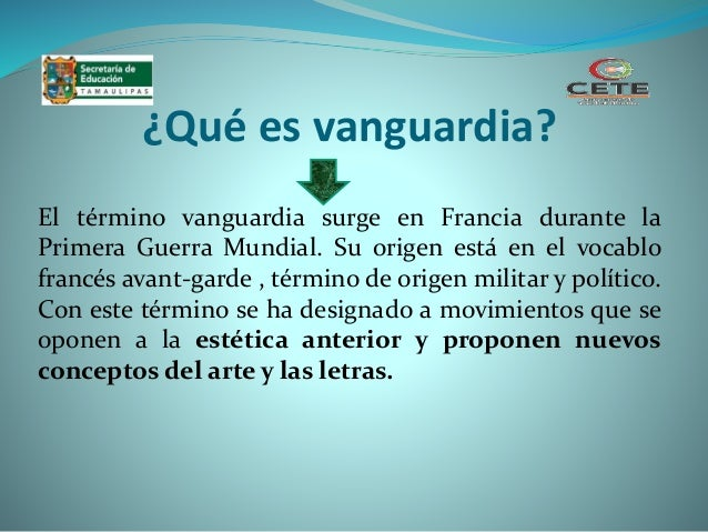 Movimientos de vanguardia for Vanguardia concepto