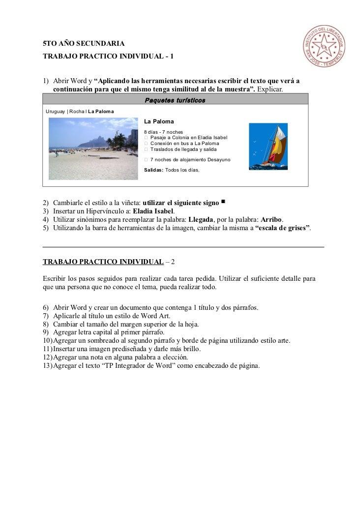 """5TO AÑO SECUNDARIATRABAJO PRACTICO INDIVIDUAL - 11) Abrir Word y """"Aplicando las herramientas necesarias escribir el texto ..."""