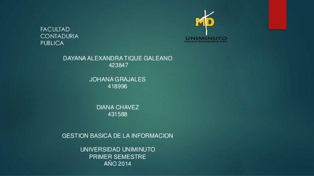 DAYANA ALEXANDRA TIQUE GALEANO  423847  JOHANA GRAJALES  418996  DIANA CHAVEZ  431588  GESTION BASICA DE LA INFORMACION  U...