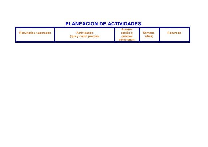PLANEACION DE ACTIVIDADES.                                                  Actores Resultados esperados        Actividade...