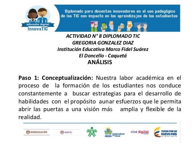 ANÁLISIS Paso 1: Conceptualización: Nuestra labor académica en el proceso de la formación de los estudiantes nos conduce c...