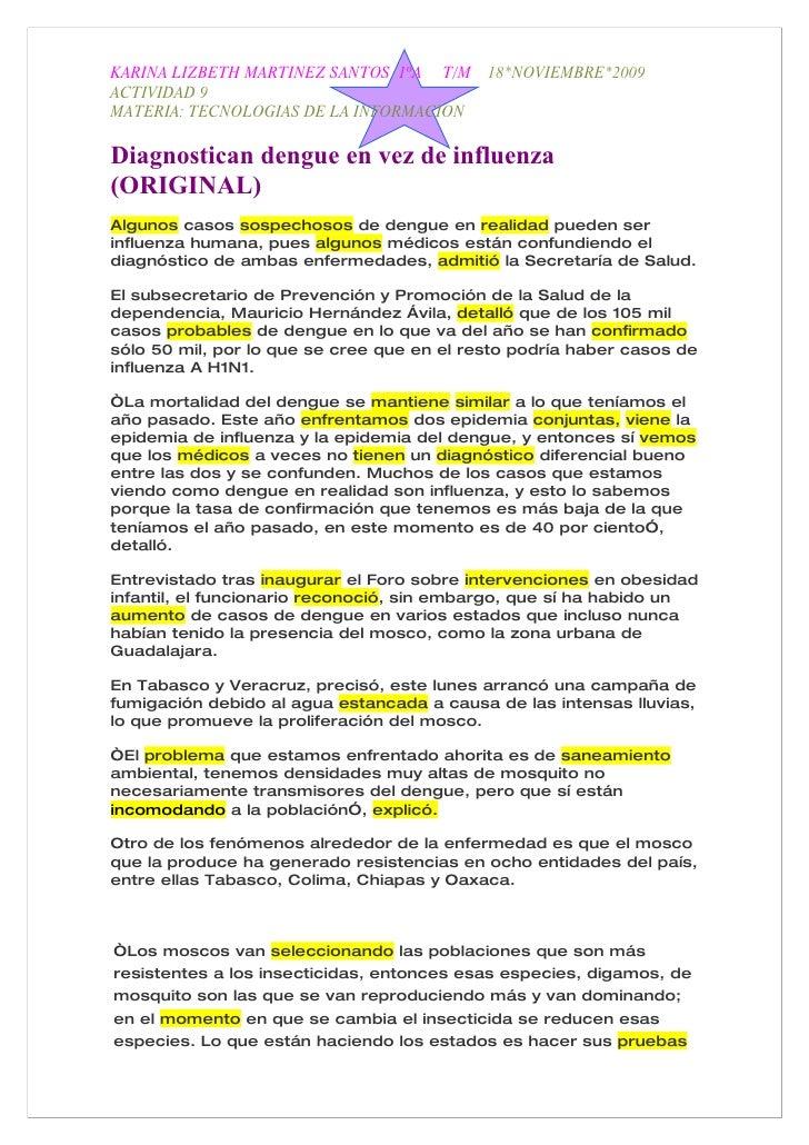 KARINA LIZBETH MARTINEZ SANTOS 1ºA T/M      18*NOVIEMBRE*2009 ACTIVIDAD 9 MATERIA: TECNOLOGIAS DE LA INFORMACION  Diagnost...