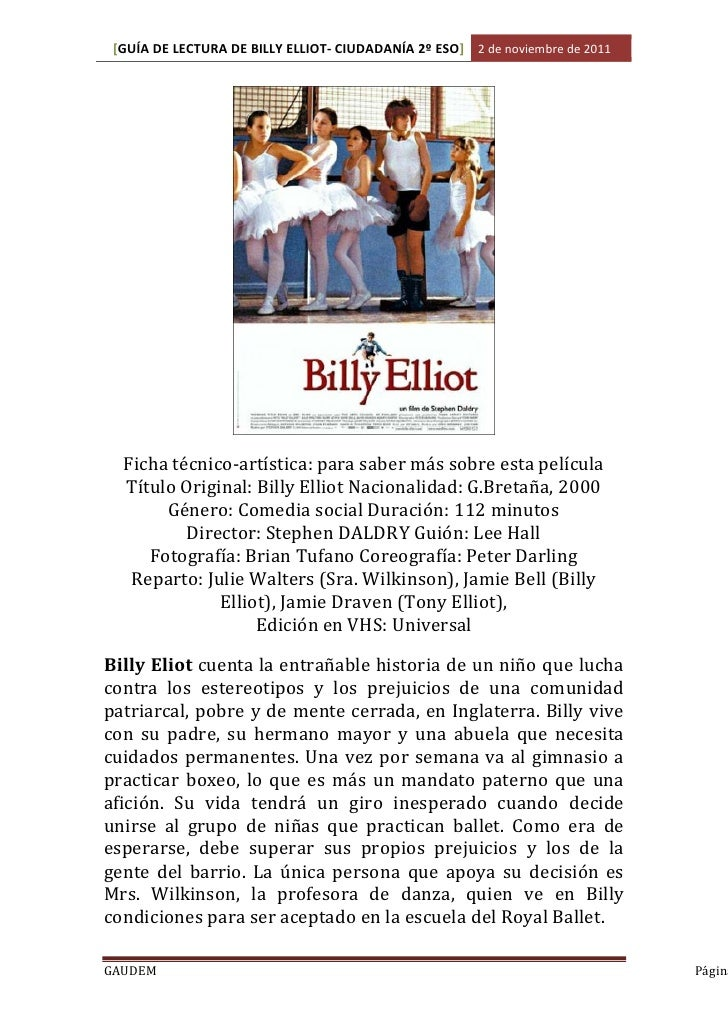 billy elliot powerpoint The file below also contains a number of vocabulary words that you should be familiar in your study of billy elliot it is important that you are not only aware of the meaning of these.