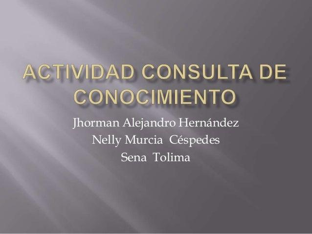 Jhorman Alejandro Hernández Nelly Murcia Céspedes Sena Tolima