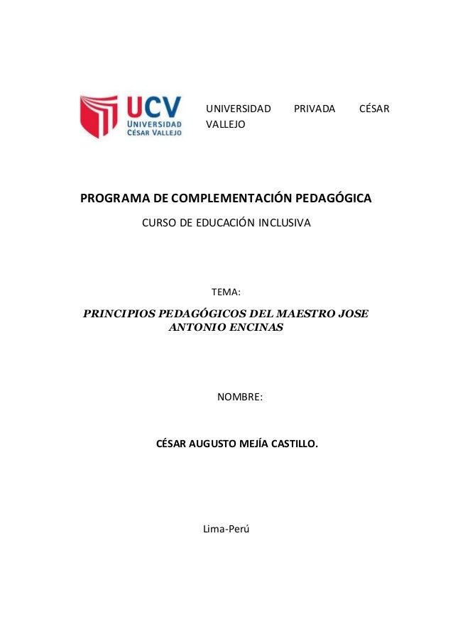 UNIVERSIDAD PRIVADA CÉSAR VALLEJO PROGRAMA DE COMPLEMENTACIÓN PEDAGÓGICA CURSO DE EDUCACIÓN INCLUSIVA TEMA: PRINCIPIOS PED...