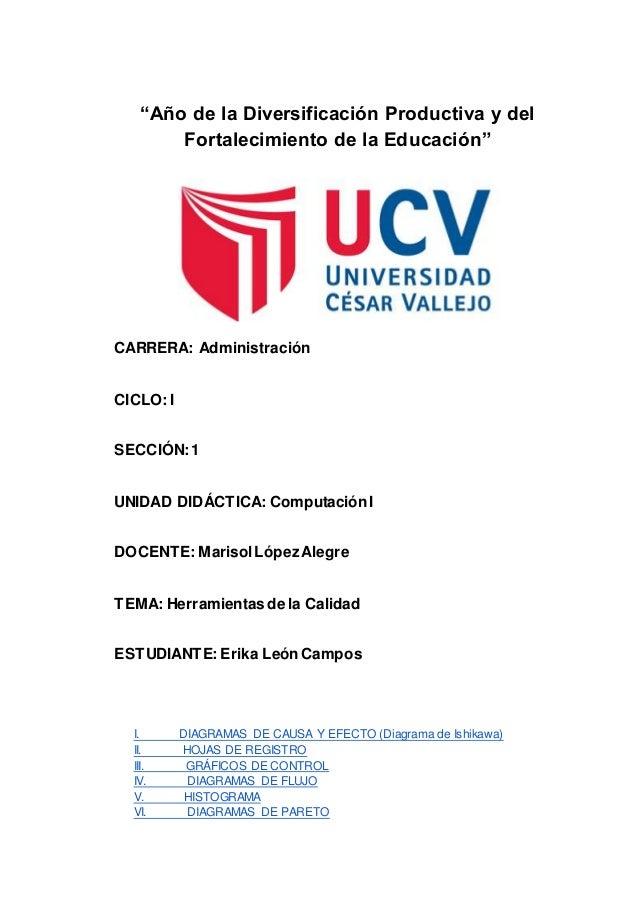"""""""Año de la Diversificación Productiva y del Fortalecimiento de la Educación"""" CARRERA: Administración CICLO: I SECCIÓN:1 UN..."""