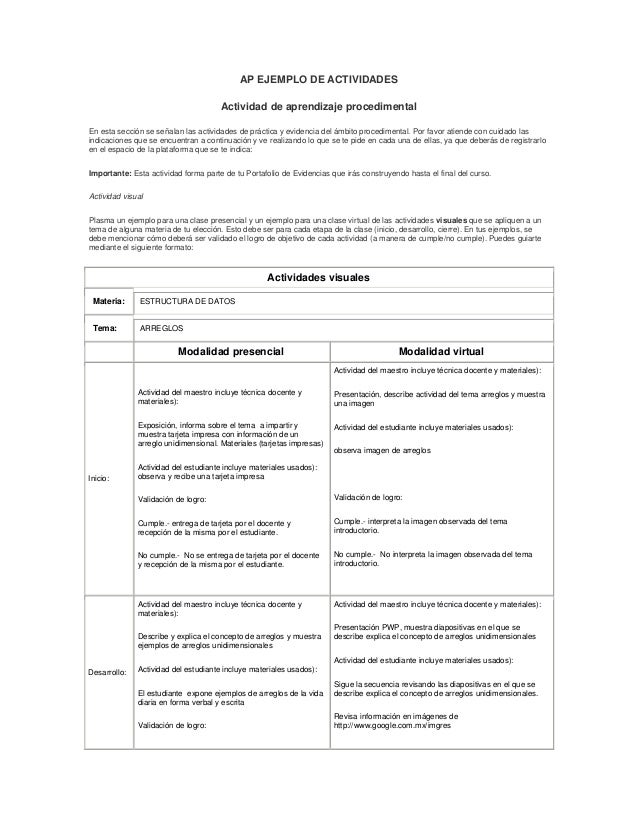 AP EJEMPLO DE ACTIVIDADES                                      Actividad de aprendizaje procedimentalEn esta sección se se...