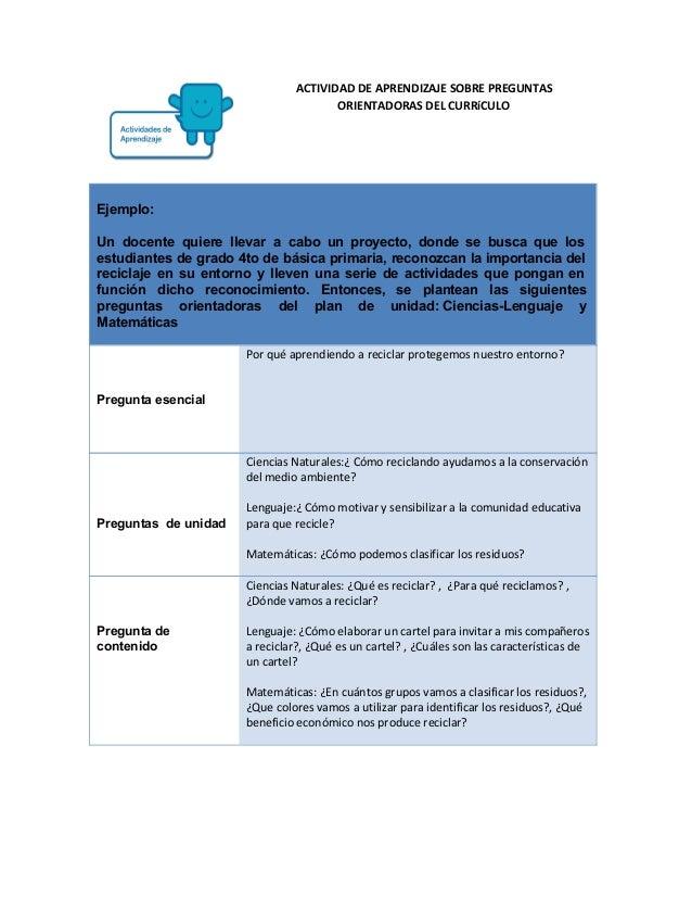 ACTIVIDAD DE APRENDIZAJE SOBRE PREGUNTAS ORIENTADORAS DEL CURRíCULO  Ejemplo:  Un docente quiere llevar a cabo un proy...