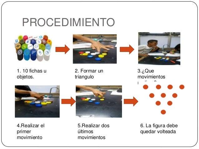 PROCEDIMIENTO 1. 10 fichas u objetos. 2. Formar un triangulo 3.¿Que movimientos realizar? 4.Realizar el primer movimiento ...